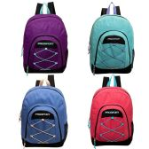17' Classic Bungee Backpack in 4 Assorted Colors with Mesh Water Bottle Pocket