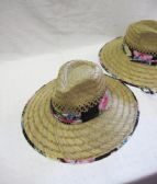 Women's Floral Trim Straw Sun Hat