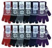 Wholesale Bulk Winter Magic Gloves Warm Brushed Interior, Stretchy Assorted Mens Womens (Womens/Snowflakes, 12)