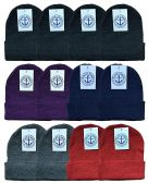 YACHT & SMITH 12 Pack Winter Beanie Hats, Thermal Stretch Unisex Cuffed Plain Skull Knit Hat Cap (Assorted Pack B)