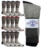 Yacht & Smith Mens Cotton Thermal Crew Socks, Cold Weather Boot Sock Shoe Size 8-12 (12)