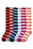 Womens Striped Fuzzy Plush Knee High Socks
