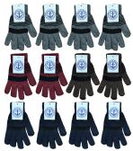 Yacht & Smith Unisex Winter Gloves, Magic Stretch Gloves In Assorted Stripe Colors BULK PACK