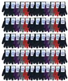 Wholesale Bulk Winter Magic Gloves Warm Brushed Interior, Stretchy Assorted 72 Pairs