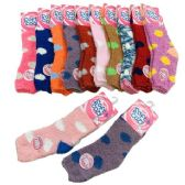 Womens Polka Dot Soft & Cozy Fuzzy Socks