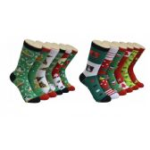 Women's Holiday Print Crew Socks Size 9-11