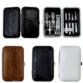 9 Piece Stainless Steel Manicure Set In 3 Assorted Snake Skin Colors