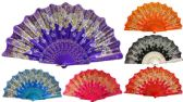 Hand Fan With Glittery Butterfly Design Assorted Colors