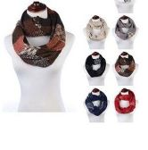 Womens Acrylic Winter Scarf With Pattern Tube Scarf Assorted Color