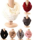 Women's Cable Knit Winter Infinity Scarf With Plus Lining Neck Warmer