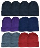 YACHT & SMITH 24 Pack Winter Beanie Hats, Thermal Stretch Unisex Cuffed Plain Skull Knit Hat Cap (Assorted Pack B)