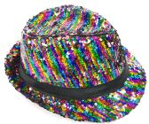 Rainbow Striped Sequin Fedora Hat