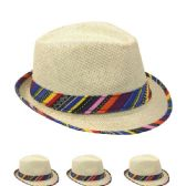 Super Cute Natural Paper Straw Fedora Hat with Rainbow Ribbon Hatband