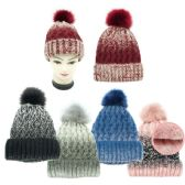 Lady's Winter Cable Knit Beanie Hat