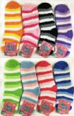 Stripped Lady Fuzzy Socks Assorted