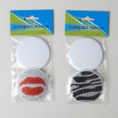 Mirror Compact With Zebra Or Lips Bling Lid