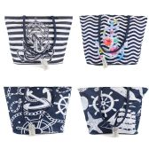 Large Beach Anchor Bulk Tote Bags in 4 Assorted Prints