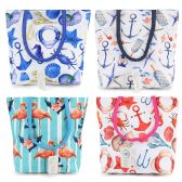 Small Beach Bulk Tote Bags in 4 Assorted Prints