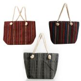 Large Rope Handle Jute Tapestry Tote Bags in 3 Assorted Styles