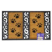 Mat Outdoor Paw Print Coco With Rubber Black Trim