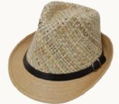Adult Straw Top Fedora With Belt Band