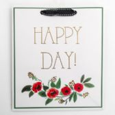 Gift Bag Cub Embellished Happy Day Green
