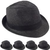 Black Straw Fedora Hat