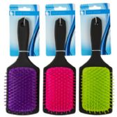 Hair Brush 3.15in Paddle 3 Assorted Colors With Black Handle
