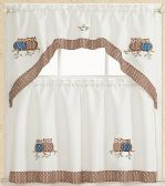OWLS BROWN KITCHEN WINDOW 3 PIECE SET