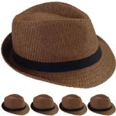 STRAW FEDORA HAT IN BROWN