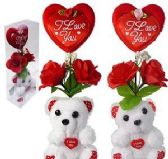 Plush Love You Bears With Heart And Silk Roses