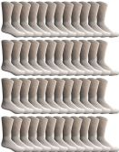 Yacht & Smith 48 Pack Men's Cotton Crew Socks Heavy Cotton Great For Donations and Sock Drives. (White, Mens 10-13)