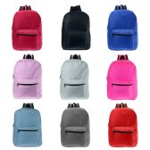 """17"""" Kids Basic Wholesale Backpacks in 9 Assorted Colors"""