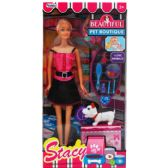 "11.5"" STACY DOLL W/ PETS & ACCSS IN WINDOW BOX, 2 ASSRT"