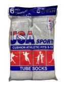 USA Men's Sport Tube Socks, Referee Style, Size 9-15 Solid Gray