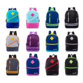 "17"" Backpacks With Front Zipper Pockets in 12 Assorted Styles Colors"