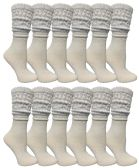 Yacht & Smith Slouch Socks for Women, Solid White Size 9-11