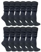 Yacht & Smith Slouch Socks for Women, Solid Black Size 9-11 - Womens Crew Sock