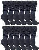 Yacht & Smith Womens Cotton Slouch Socks, Womans Knee High Boot Socks (Black, 12 Pack)