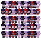 Yacht & Smith Womens Warm Assorted Colors Striped Fuzzy Gloves