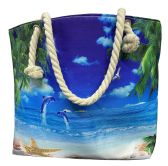 Nautical Rope Large Beach Tote Bag With Inner Pocket , Assorted Summer Prints