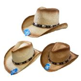 Classic Woven Cowboy Hat [Round Silver Medallions on Hat Band]