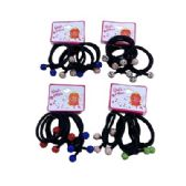 Four Piece Elastic Hairbands With Colored Rhinestone Balls