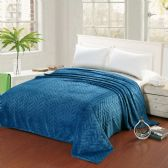 Leaf Etched Blanket Queen Size In Blue