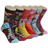 Ladies Colorful Printed Crew Socks Size 9-11