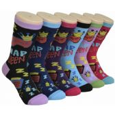 Ladies Lounge Printed Crew Socks Size 9-11