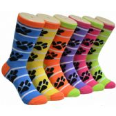 Ladies Paw Print Crew Socks Size 9-11