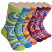 Ladies Swirl Crew Socks Size 9-11