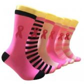 Ladies Pink Ribbon Crew Socks Size 9-11