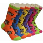 Ladies Monkey Crew Socks Size 9-11